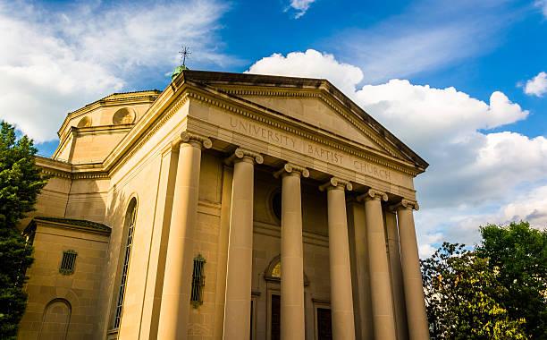 University Baptist Church, in Baltimore, Maryland. stock photo