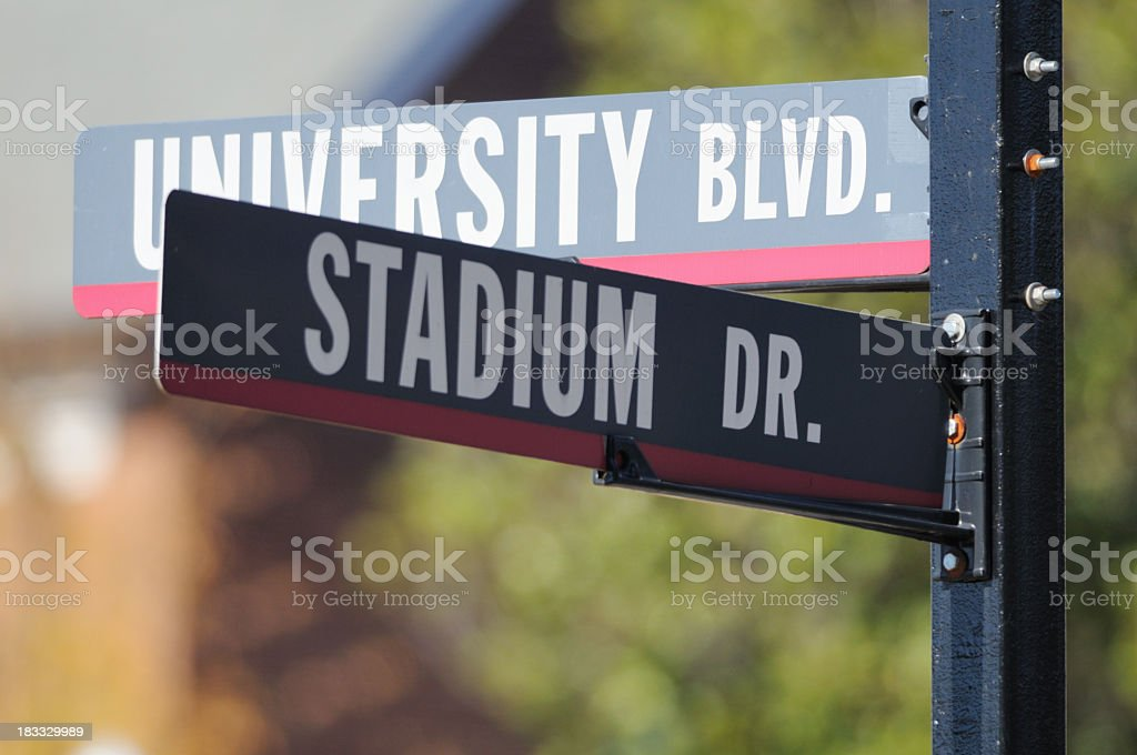 University boulevard and stadium drive sign stock photo