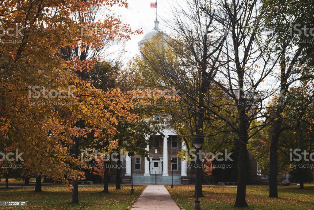 University building at college in autumn stock photo