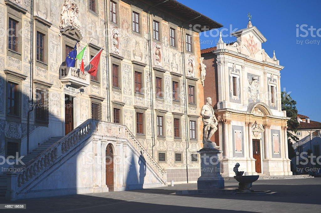 University building on Piazza dei Cavalieri in Pisa, Tuscany, Italy stock photo