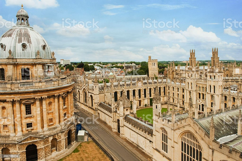 University buildings in a city stock photo