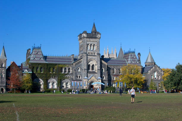University campus in fall stock photo