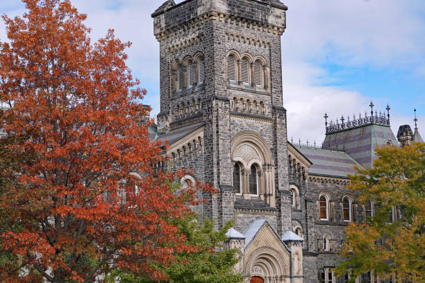 University campus with gothic architecture and fall colors University campus with gothic architecture and fall colors, University of Toronto ivy league university stock pictures, royalty-free photos & images