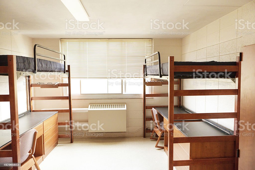 University College Dorm Room With Bunkbeds Empty Unoccupied Student