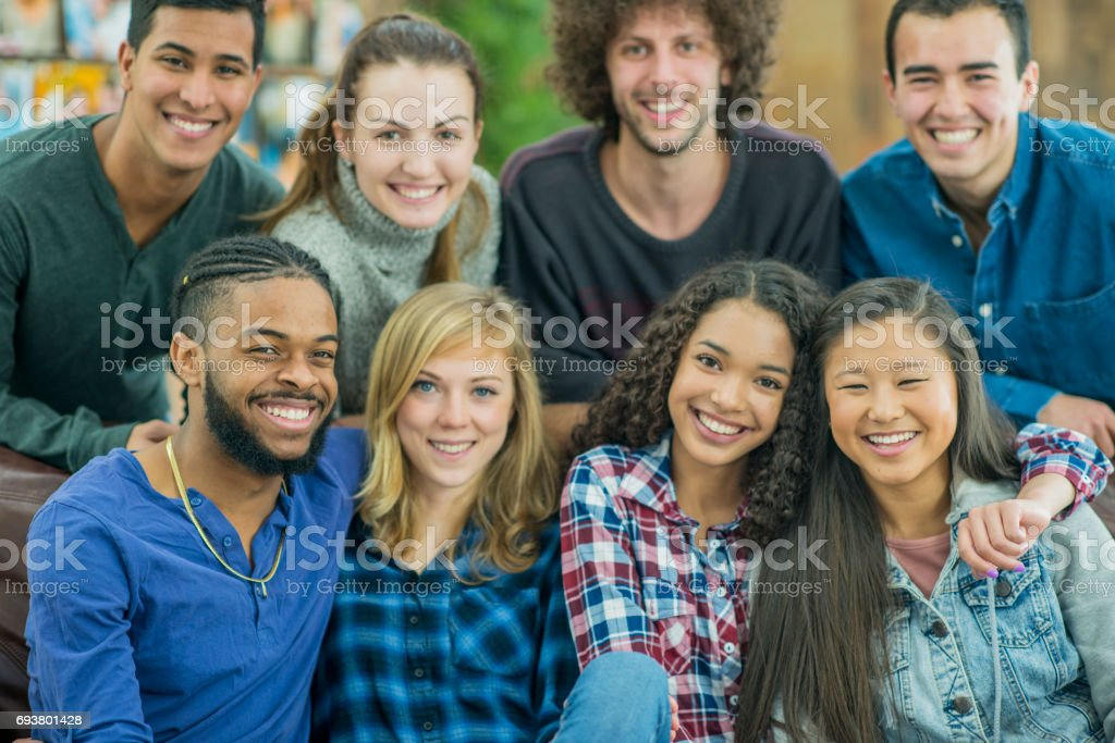 University Friends Hang Out in the Dorm - Royalty-free 20-29 Years Stock Photo