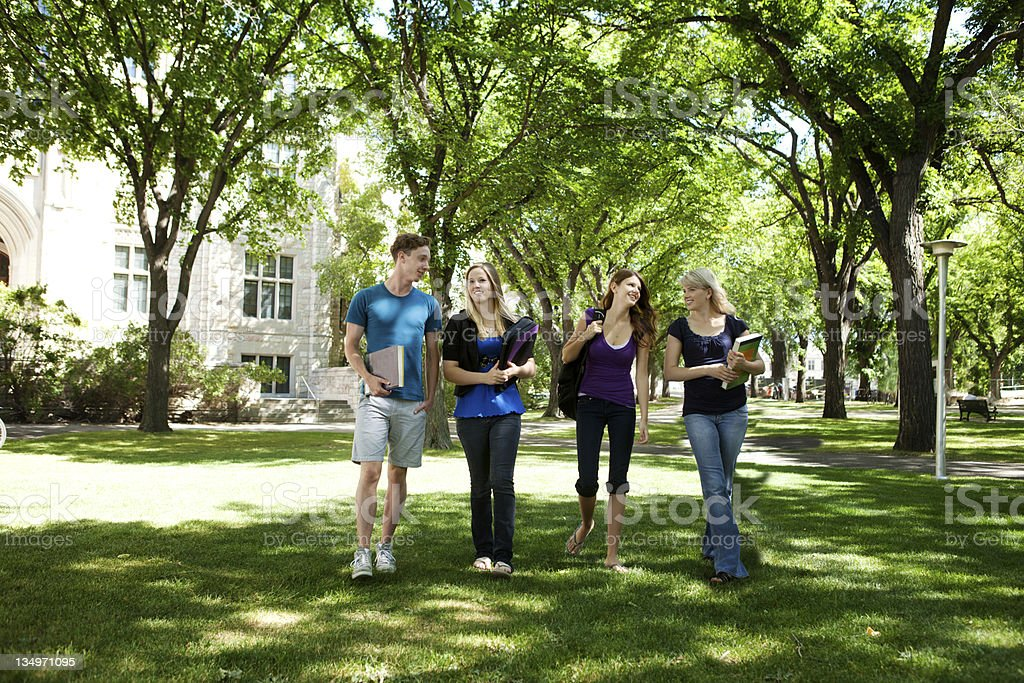 University Friends on Campus royalty-free stock photo