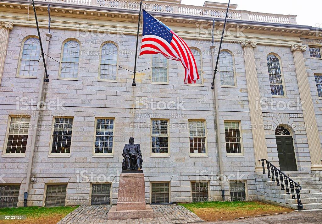 University Hall and Harvard Statue in Harvard University, Cambridge, MA stock photo