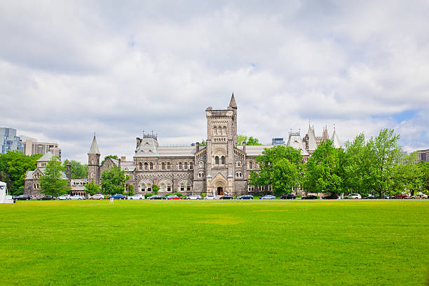 university hall with front lawn shoot in the University of Toronto, Ontario, Canada charlottesville stock pictures, royalty-free photos & images