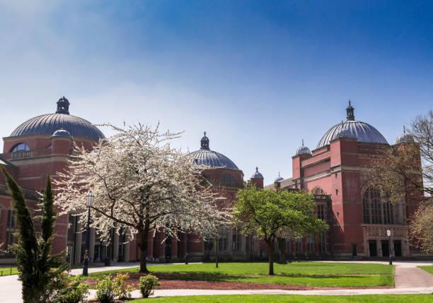 University of Birmingham Campus in summer no people stock photo
