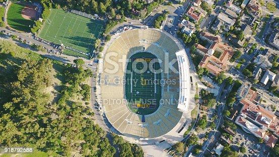 Drone Aerial of Cal Football Stadium; Berkeley, CA, February 10, 2018, University of California at Berkeley Football stadium; empty football stadium