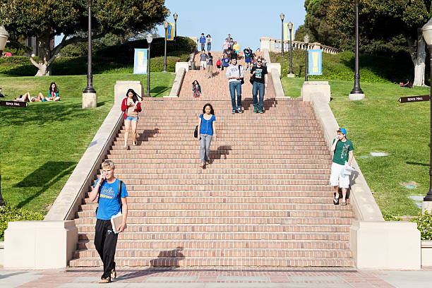 University of California, Los Angeles Los Angeles, California, USA - June 13, 2012. The location is University of California, Los Angeles. Large groups of students walking down the stairs. ucla stock pictures, royalty-free photos & images