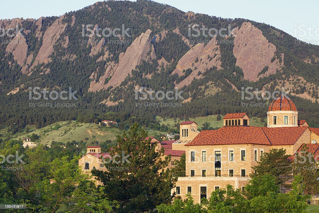 University of Colorado and Flatirons stock photo