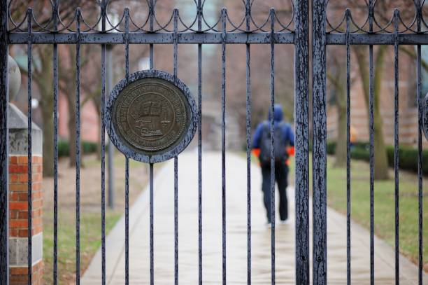 University of Illinois crest on gate stock photo