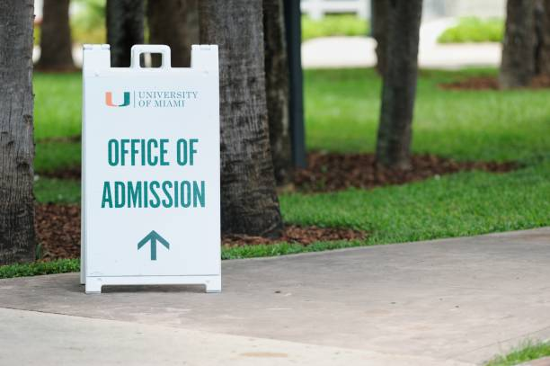 University of Miami Office of Admissions sign stock photo