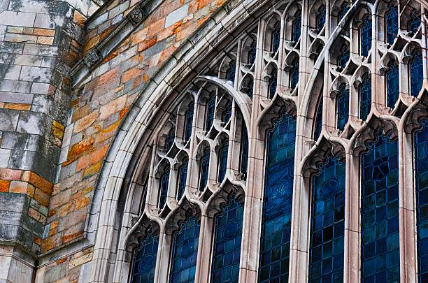University of Michigan, Law School, Dining Hall Windows The windows of the University of Michigan Law School Dining Hall on the Law Quad. ann arbor stock pictures, royalty-free photos & images