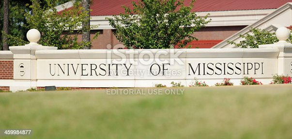 Oxford, Mississippi, USA - September 1, 2013:  Sign at the entrance to the University of Mississippi, located in Oxford, Mississippi.  Sign located at the Coliseum Drive entrance.
