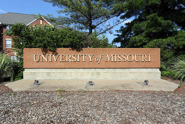 University of Missouri Columbia, MO, USA - July 5, 2016: An entrance sign at the University of Missouri in Columbia, Missouri. The University of Missouri is a public land-grant research university located in Columbia, Missouri.  university of missouri columbia stock pictures, royalty-free photos & images