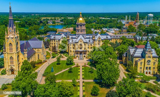 The University of Notre Dame Campus with Golden Dome, Basilica of the Sacred Heart, and Washington Hall.