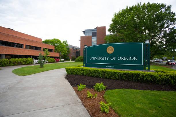 University of Oregon Campus Sign stock photo