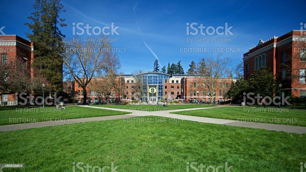 University of Oregon Eugene Campus Lillis Hall Lawn Paths UO stock photo