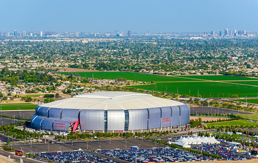 University Of Phoenix Stadium Glendale Arizona 2015 Superbowl Football Host Stock Photo - Download Image Now