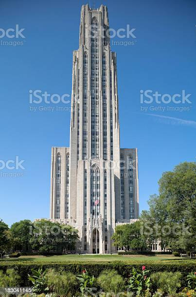 University of Pittsburgh's Cathedral of Learning with Manicured Lawn