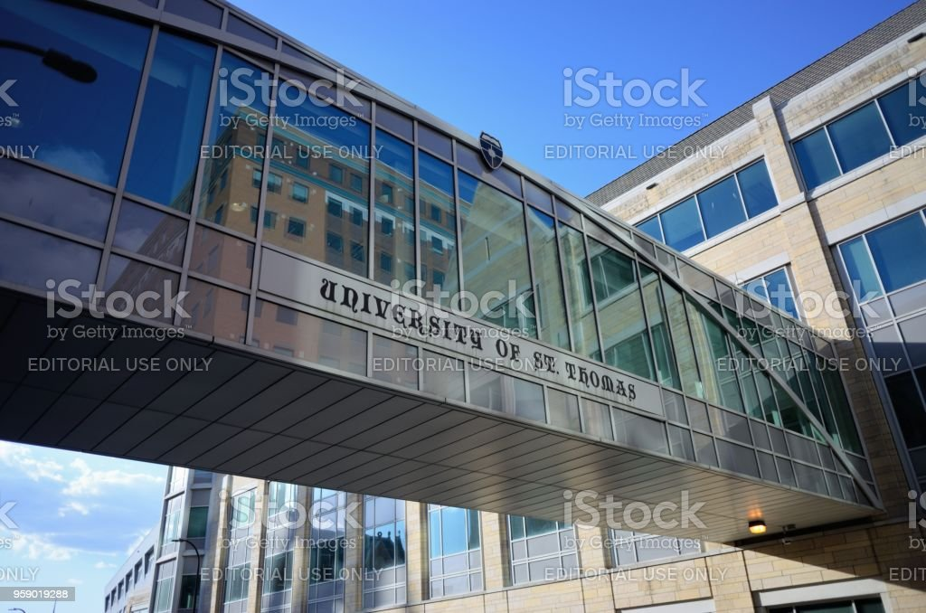 University of Saint Thomas in Minneapolis sign stock photo