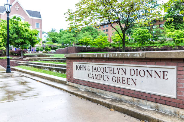 university of scranton campus green sign with john and jacquelyn dionne - scranton pa stock photos and pictures