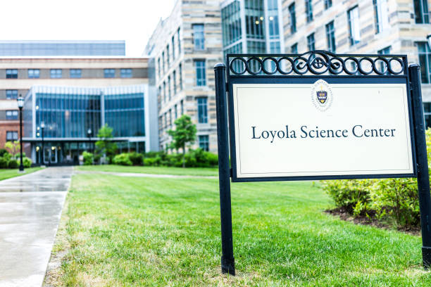 university of scranton loyola science center building with sign and entrance - scranton pa stock photos and pictures