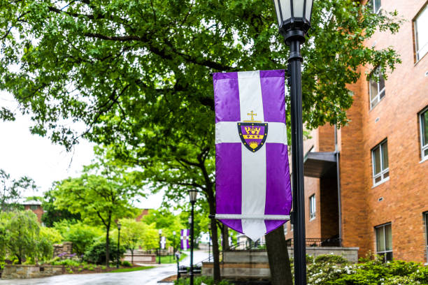 university of scranton purple flag and building - scranton pa stock photos and pictures