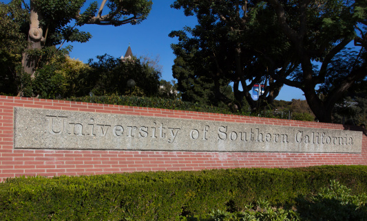 University Of Southern California Entrance Sign Stock Photo - Download Image Now