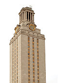 The University of Texas at Austin clock tower on a cloudy day.  Perfect for a cutout in a brochure or to wrap text around on a website.