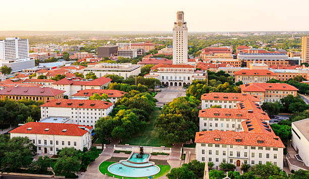 University of Texas (UT) Austin campus at sunset aerial view stock photo