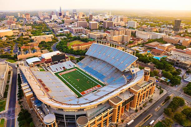 University of Texas Austin (UT) Longhorns Football Stadium aerial view stock photo