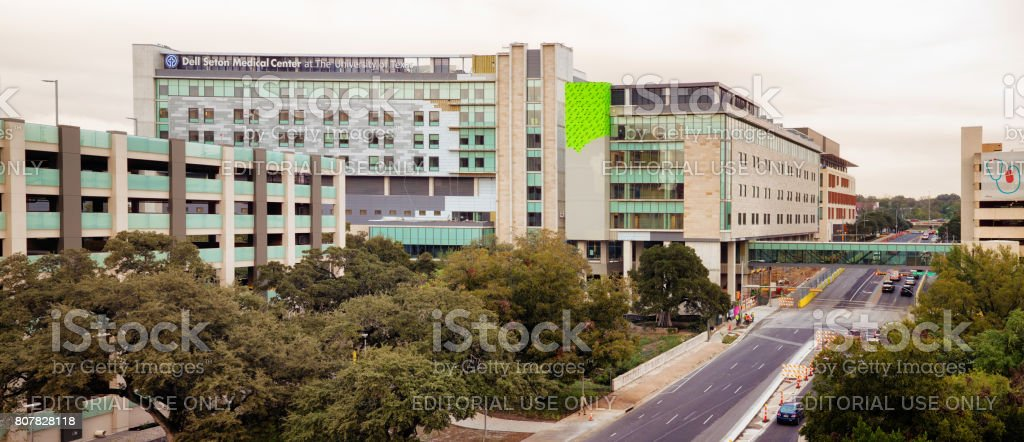 University of Texas Dell Seton Medical Center elevated view panorama stock photo