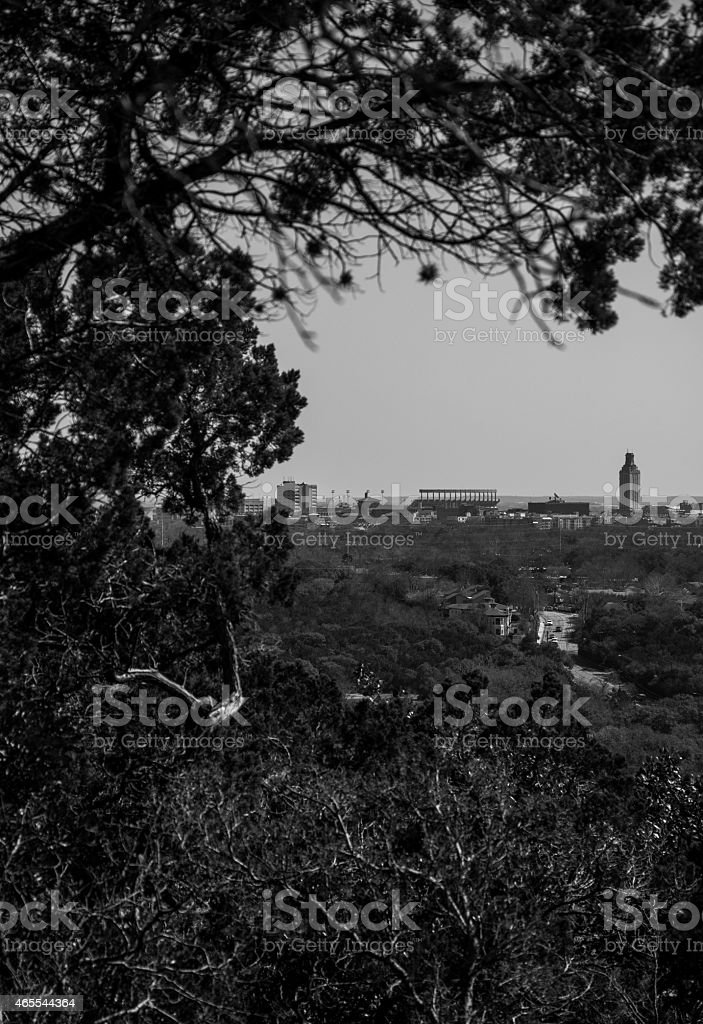 University of Texas Tower shown through Trees of Mount Bonnell stock photo