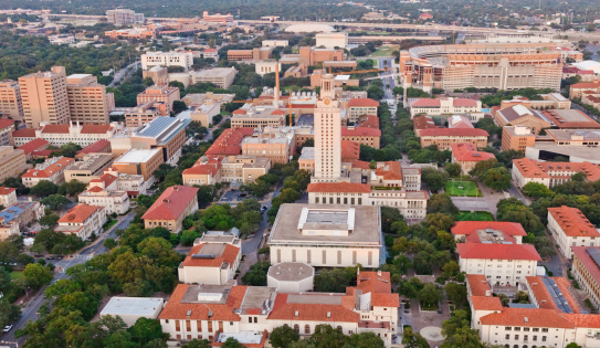 istock University of Texas UT Austin campus aerial view from Helicopter 165698942