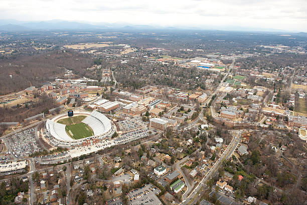 University of Virginia Campus - Aerial View An aerial view of the campus at the University of Virginia in Charlottesville, Virginia. charlottesville stock pictures, royalty-free photos & images