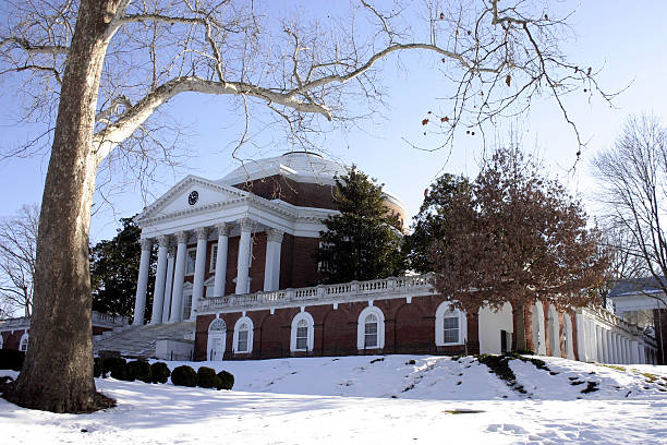 University of Virginia's Rotunda in Winter  charlottesville stock pictures, royalty-free photos & images