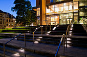 PROPERTY RELEASE ON FILE. Completed in the summer of 2010, Paccar Hall is one of two state-of-the-art buildings developed as part of an expanded campus for the University of Washington Michael G. Foster School of Business. Photographed at twilight.