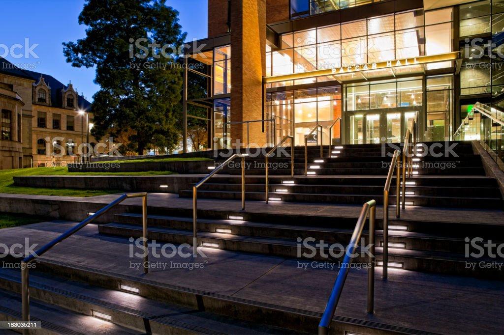 University of Washington's Paccar Hall at night stock photo