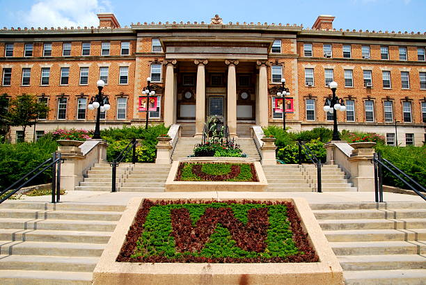 University of Wisconsin Madison Agriculture Building Madison, WI, USA - July 20, 2014: The beautiful entrance to the agriculture building at the University of Wisconsin, Madison Campus. madison wisconsin stock pictures, royalty-free photos & images