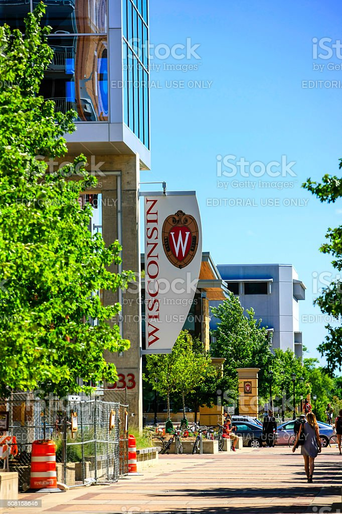 University of Wisconsin Madison banner flying from a campus building stock photo