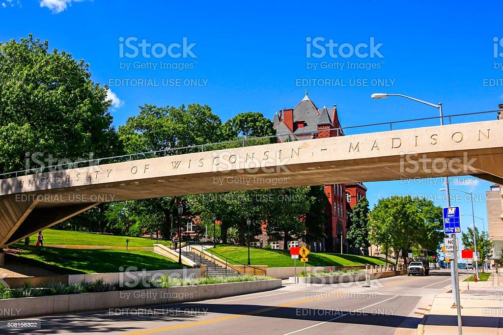 University of Wisconsin pedestrian bridge in Madison stock photo