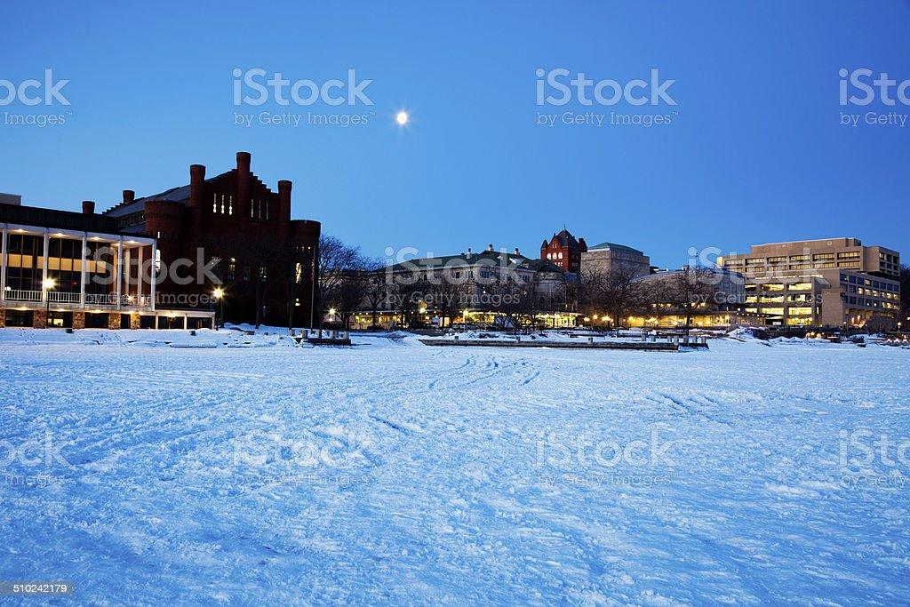 University of Wisconsin - seen from frozen Lake Mendota. stock photo