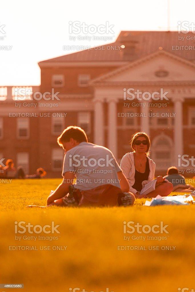University of Wisconsin Students Studying on Bascom Hill stock photo