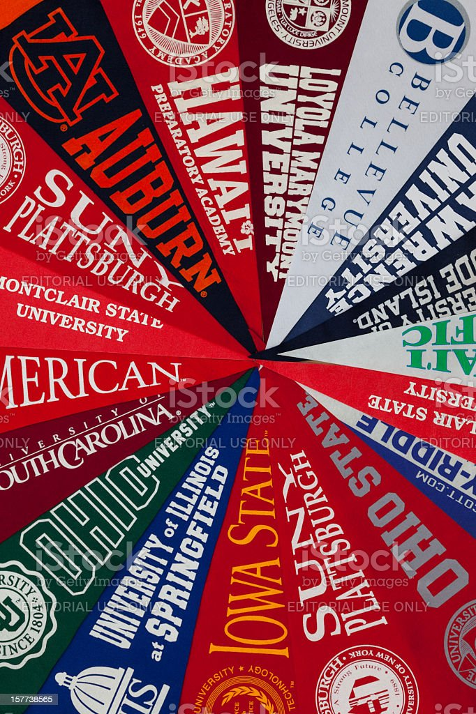 University pennants stock photo
