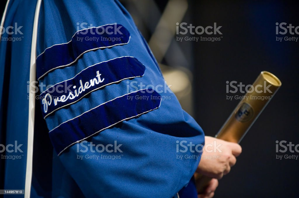 University President at Graduation stock photo