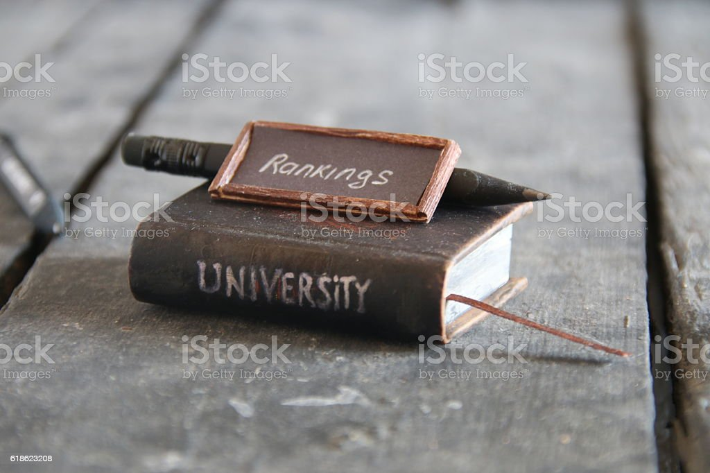 university rankings concept, vintage style. stock photo
