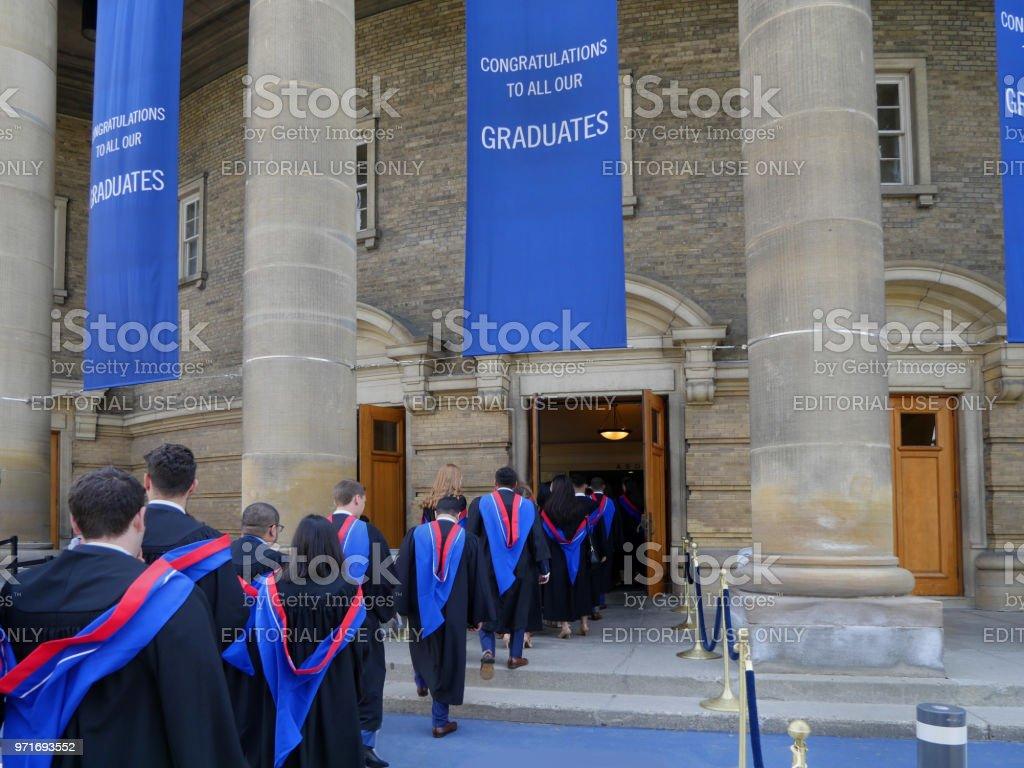 University student graduation procession stock photo